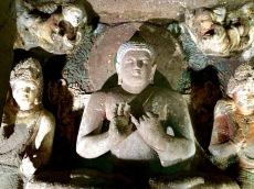 Détail d'une sculpture, Ajanta, Inde