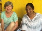 Jocelyne et Anitha professeur de kolam, Centre Culturel Sita, Puducherry