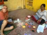 Cours de Kolam au Centre Culturel Sita, Puducherry