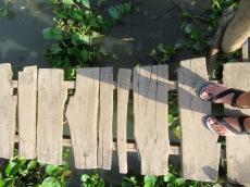 Un défi pour une fille qui a le vertige sur le chemin du village Cham, Région Chau Doc, Vietnam