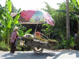 Vendeuse de fruits et légumes au village Cham, région de Chau Doc, Vietnam