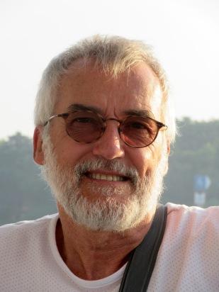 Robert sur le bateau entre le Vietnam et le Cambodge