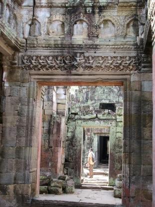 Linteau à Preah Khan, Angkor, Cambodge