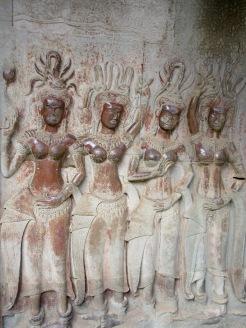 Apsaras sur un bas-relief, Angkor Wat, Cambodge