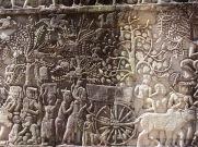 Bas-relief illustrant la vie quotidienne des paysans Khmer à Bayon, Angkor, Cambodge