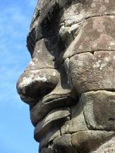 Visage au sourire énigmatique d'une tour au temple Bayon Angkor, Cambodge