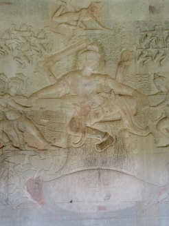 Bas-relief illustrant le barratage de la mer de lait, Cambodge