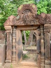 Le style d'architecture de Bantaey Srei est délicat et finement ciselé, Angkor, Cambodge