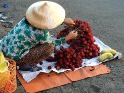 Vendeuse de litchis, marché de Vinh Long, Vietnam