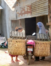 Vente d'œufs à domicile, Kampot, Cambodge