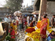 Scène du marché aux fleurs, Kolkata, Inde
