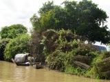 Sur le canal vers Battambang, des pièges sont posés le long des berges, Cambodge