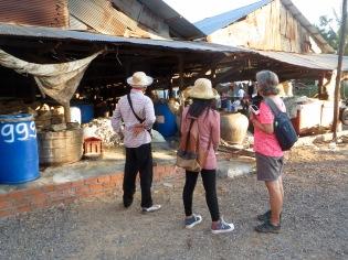 L'odeur ne trompe pas devant la fabrique de pâte de poisson, Battambang, Cambodge