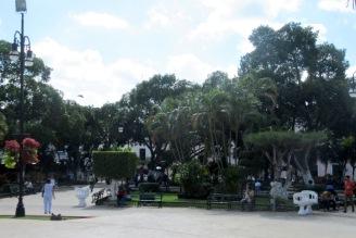 Le zocalo central de Mérida est un véritable ilôt de verdure et un lieu de rendez-vous pour la population de tous les âges. Mérida, Yucatán, Mexico.