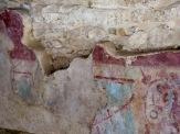La possibilité d'observer ces peintures de l'époque précolombienne, protégées des intempéries sous une palapa, nous fascine à chaque fois. Mayapan, Yucatán, Mexique.