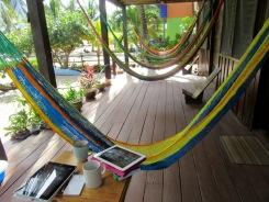Un petit déjeuner sur la véranda à Tipple Tree Beya, à lire notre journal numérique...avec vue sur la mer...incomparable. Hopkins, Stann Creek District, Belize.