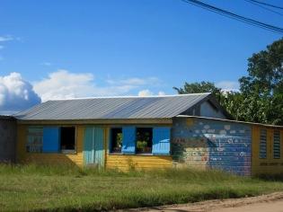 C'est tout d'abord les volets bleus et la jolie murale qui ont attiré mon attention sur cette petite bibliothèque à Hopkins, toute seule sur le bord de la route. Stan Creek District, Belize.
