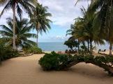 La vue sur la mer, à nous balancer dans nos hamacs partir de la véranda devant notre chambre à Tipple Tree Beya. Hopkins, Stann Creek District, Belize.