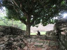 Mon amoureux se prépare à me faire la lecture des informations sur Lubaantun. Selon les archéologues, la cité était un centre administratif entre les années 730 et 860 de notre ère. Toledo District, Belize.