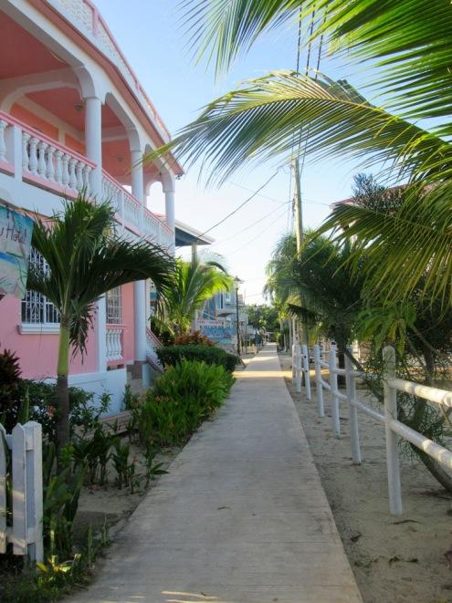 Les hôtels de différentes catégories sont accessibles à partir du Sidewalk. Placencia, Stann Creek District, Belize.