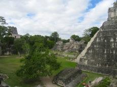 La Grande Plaza est bordée par l'Acropole Centrale et l'Acropole Nord. Deux temples se font face à chaque extrémité de la plaza: El Gran Jaguar ou El Templo I et el Templo II. C'est l'une des grandes beautés de Tikal. Petén, Guatemala.
