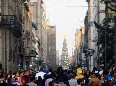 L'arbre de Noël du Centro Historico de Mexico est visible des rues avoisinantes et ajoute à l'ambiance magique du Temps des Fêtes.