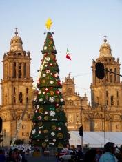 L'arbre de Noël devant la Cathédrale de Mexico est presque terminé, Centro Historico, Mexique.
