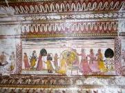 Peinture sur le mur de l'une des pièces du Raja Mahal, Orchha, Inde.