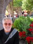 Une petite pause dans le jardin principal pour admirer les poinsettias et la crèche tout à côté. San Miguel de Allende, Guanajuato, Mexique.