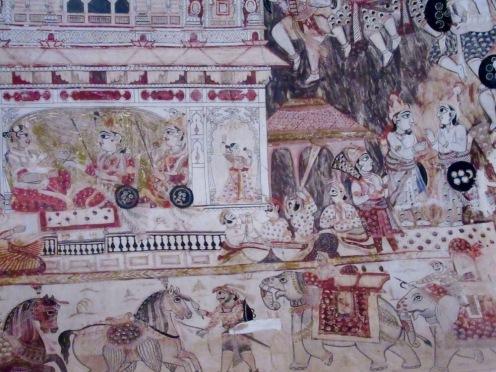 Peinture murale dans l'une des pièces du temple Laxmi Narayan, Orchha, Inde.