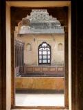 Vue sur les quartiers intérieurs du Birsingh Deo Palace à Datia en Inde.