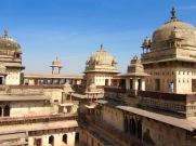 Vue des toits du Jahangir Mahal, Orchha, Inde