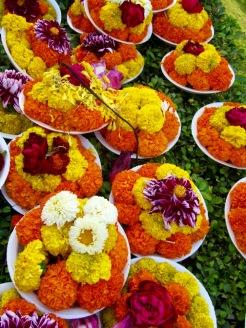 Des milliers d'offrandes sont placées sur la haie qui entoure le temple Mahabodhi, Bodh Gaya, Inde.