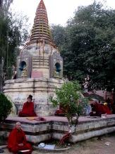 Des moines poursuivent leur méditation alors que la fraîcheur descend sur le site du temple Mahabodhi, Bodh Gaya, Inde.