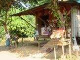 Un tout petit autel avec des offrandes est placé devant cette maison et son magasin, Kratie, Cambodge.