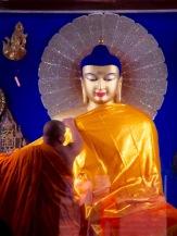 Un moine change la robe de Sakyamuni, le Bouddha aux cheveux bleus, Bodh Gaya, Inde.