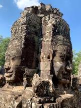 L'une des grandes structures du Bayon, représentant quatre visages. Angkor Thom, Siem Reap, Cambodge.