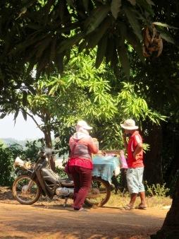 Cette femme se déplace en moto pour vendre dans le voisinage ses légumes cuits et prêts à être consommés. Nous avons goûté un tubercule qui a le goût de la patate, c'était délicieux. Kratie, Cambodge.