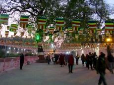 La nuit tombe sur le site du temple Mahabodhi. C'est pour nous l'heure de rentrer. Bodh Gaya, Inde.