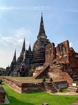 Des chedis du Wat Phra Si Sanphet sont toujours aussi majestueux. Ayutthaya, Thaïlande.