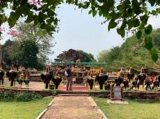 Ce petit autel du Wat Thammikarat est entouré de statues de coqs de toutes les grandeurs. Ayutthaya, Thaïlande.