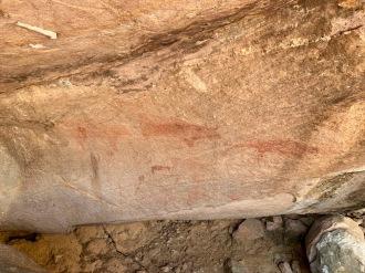 Peintures rupestres de couleur ocre datant de l'époque préhistorique. Parc national historique de Phu Phra Bat, Isan, Thaïlande.
