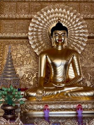 Détail des l'un des bouddhas du Wat Phra That Nong Bua de Ubon Ratchathani, Isan, Thaïlande.